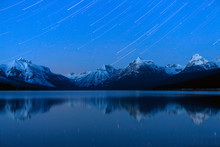 Glacier National Park, Montana: Star Trails Over Lake McDonald In Mid Winter.