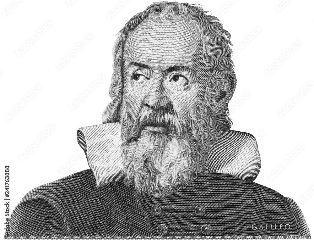 Fototapety, obrazy: Galileo Galilei etching on Italy money. Genius scientist, philosopher, astronomer, mathematician, father of physics and astronomy, inventor of telescope