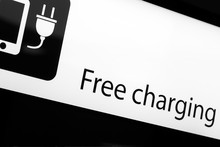 Mobile Phone Smartphone Gadget Free Charging Station Black Sign At Public Place Isolated On White Photo Background