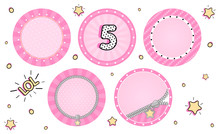 Set Of Cute Vector LOL Surprise Cupcake Toppers. Pink Party Stickers. Blank Background For Name, Age, Text, Pictures In Center. Round Zipper, Sunbeam, Striped. Little Small Stars. Tiny Sweet Design