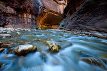 A Scenic View Of A Long Exposure Of River Water Running Through At Zion National Park, Utah.