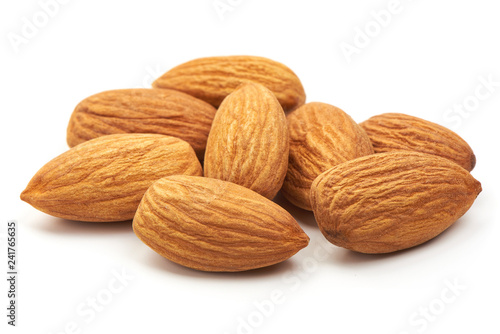 Photo Almond. Almond nuts, close-up isolated on a white background