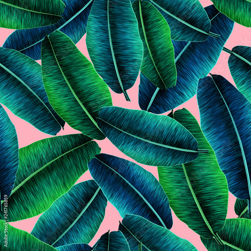 Photo sur Aluminium Aquarelle avec des feuilles tropicales Tropical banana leaves, jungle leaf seamless floral pattern pink background. Artistic palms pattern with seamless repeating design. Pattern for summer designs.