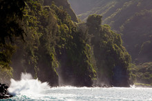Scenic View Of Waves Crashing In Hawaii.