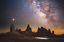 Trona Pinnacles With Night Sky...