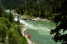 Rafting Through Lunch Counter Rapid On The Snake River Near Jackson, Wyoming.