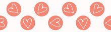 Vector Coral, White Textured Heart Circles. Seamless Repeat Border. Hand Drawn Love Heart Polka Dots Banner Ribbon For Romantic Valentines Day, Wedding Or Anniversary Celebration Washi Tape.