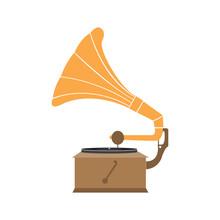 Gramophone Flat Icon. Retro Vector Design Illustration
