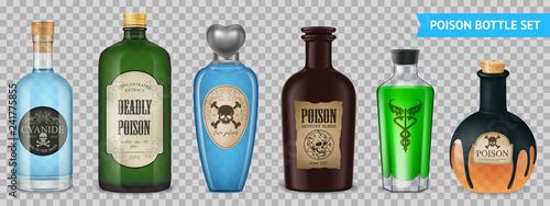 Slika na platnu Realistic Poison Bottles Set