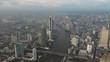 Fly over business center of Bangkok, Sathon thaksin bridge chaophraya river scene