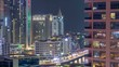 Aerial view of Dubai Marina from a vantage point night timelapse.