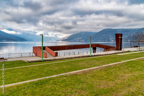Landscape of Lake Maggiore in cloudy day from lakefront of Luino, province of Va Canvas-taulu