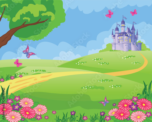 Fairy tale background with a flower meadow and a castle. Wonderland.Children illustration. Vector.