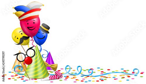 Fototapeta Karneval Fasching Vektor mit Konfetti, Luftballons und Partyhut