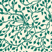 Gorgeous Ivy Vine Vector In A Seamless Wallpaper Pattern, Pretty Leaves In Elegant Hand Drawn Illustration, Nature Background For Floral Designs In Green On A Vintage Light Yellow Color