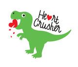 Fototapeta Dinusie - Cute green dinosaur crushing heart. Valentine dinosaur vector illustration.