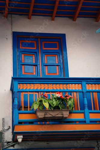 In de dag Zuid-Amerika land Windows in Salento, Colonial Town