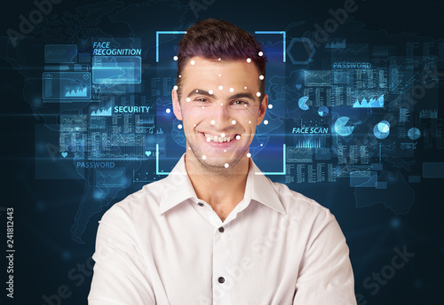 Photo  Digital Face Recognition System concept