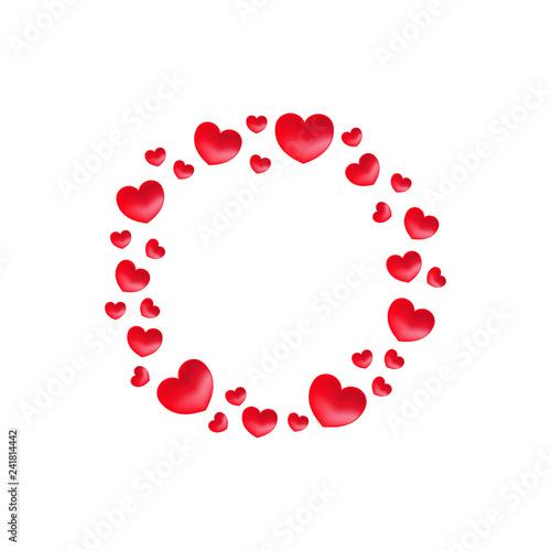 Fototapeta Vector Hearts Wreath Hearts Frame For Greeting Invitation Wedding Cards Design
