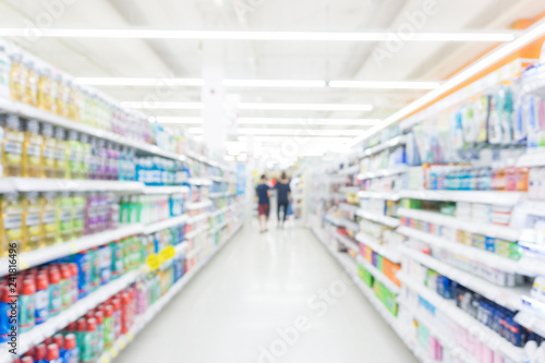 Abstrack blurred bokeh supermarket with food and drink on shelf
