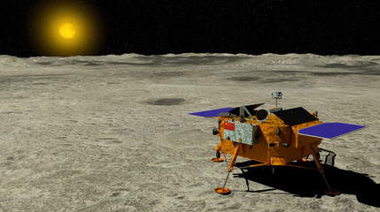 China`s Chang e 4 lunar probe landed on the surface of the moon with the sun in the background. 3D illustration