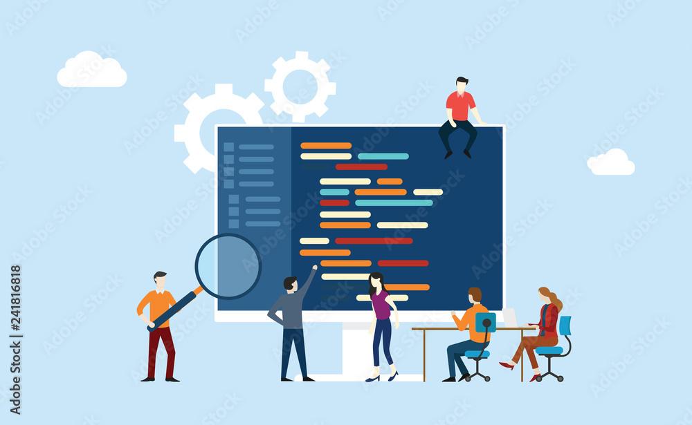 Fototapeta programming team development working together on the office writing code program