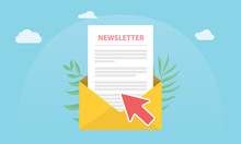 Subscribe Newsletter Concept Isolated With News Paper And Open Envelope And Subscribing Arrow Click