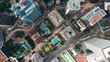 Hong Kong Central district aerial with cinematic color graded