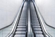 Empty Long Escalator In A Train Station