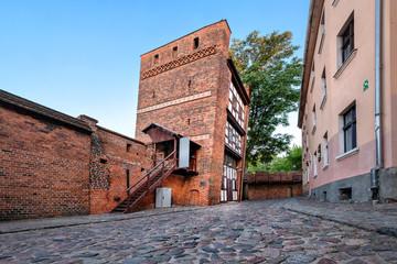 Medieval leaning tower - famous landmark in Torun, Poland