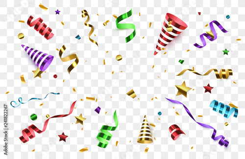 Obraz Confetti with party poppers isolated. Birthday background. - fototapety do salonu