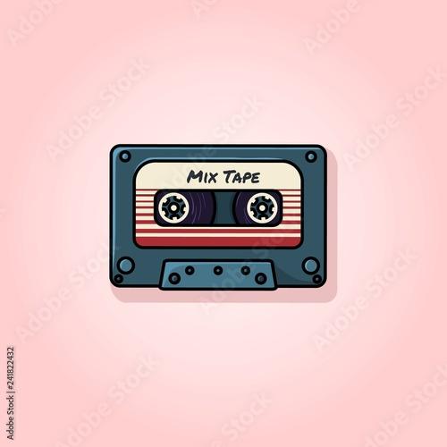 Obraz na płótnie Plastic audio compact cassette tape - web illustration