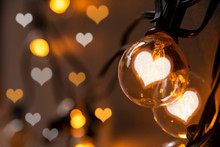 Light Bulbs With Hearts Shape Bokeh For Valentine Concept