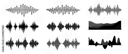 Fotografía Sound waves set isolated on white background