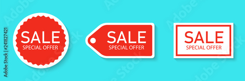 Fotografia  Sale sticker icon set isolated on a blue background