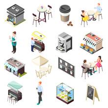Street Coffee Isometric Icons ...