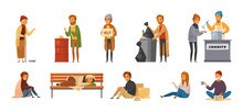 Homeless People Cartoon Icon Set