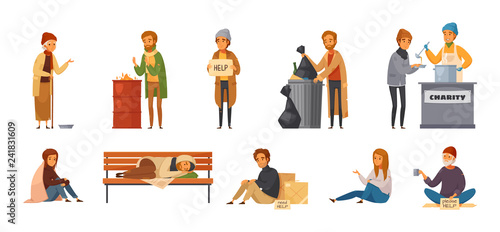 Homeless People Cartoon Icon Set Fototapeta