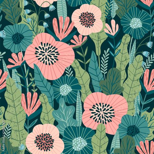 Türaufkleber Künstlich Floral abstract seamless pattern.