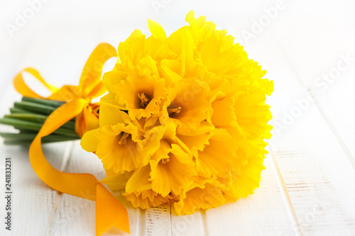 Easter bouquet of yellow daffodils.
