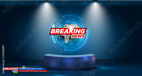 Fototapeta Table and breaking news banner background in the news studio . vector illustration obraz