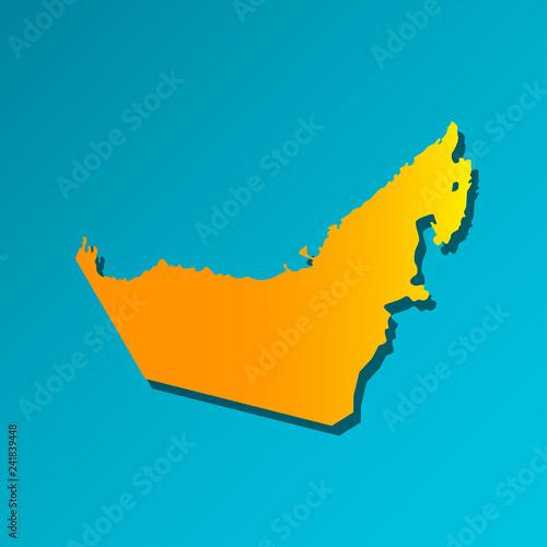Fotografie, Obraz  Vector isolated simplified illustration icon with orange silhouette of mainland United Arab Emirates (UAE)