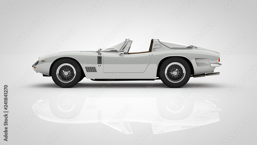 Fototapeta rare classic targa roadster car with cutout path