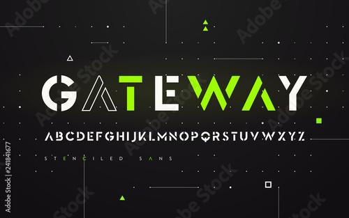 Photo Stenciled futuristic san serif, alphabet, uppercase letters, typ