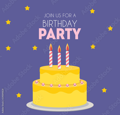 Photo  Birthday party invitation with cute cake. Vector Illustration