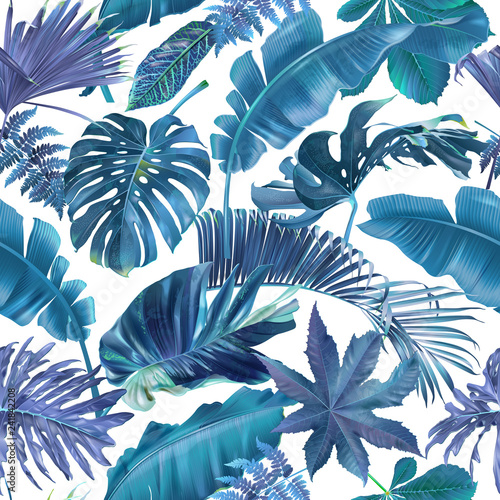 Vector seamless pattern with blue tropical leaves