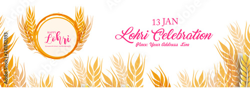 Fényképezés  Lohri celebration with Crop and borfire with white background with typography