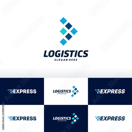 Set, of Fast Express Delivery Logo designs template, Logistic Logo designs concept vector