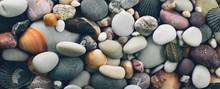 Stones And Seashells Background. Panorama.
