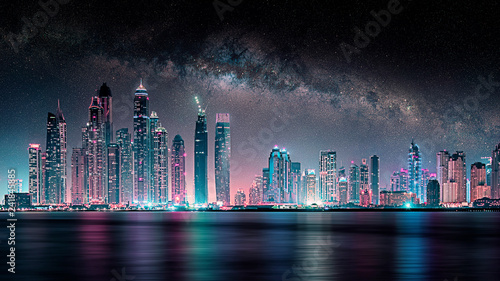 фотография  Night in Dubai city under the milky way